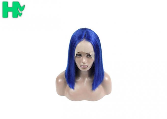 Bob Style Short Brazillian Hair Natural Looking Lace Front Wigs 180% Density