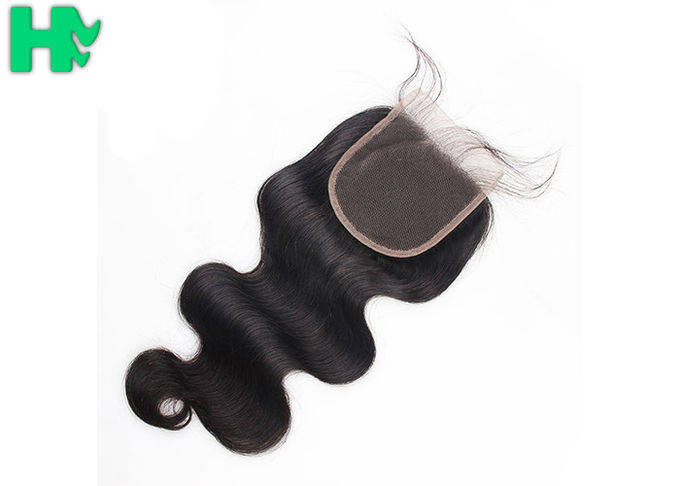 Grade 9A Human Hair Closure With Baby Hair Bleached Knots / Brazillian Body Wave