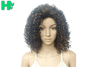 China Kinky Curly Short Synthetic Wigs Natural Looking Brown Mixed Black supplier