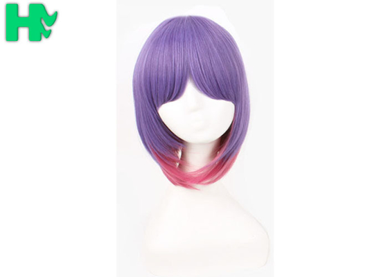 China Party Purple Synthetic Cosplay Wigs With Ponytails Non Flammable supplier