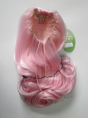 China Pink Wigs Ponytails Hair Pieces Curly 24 Inches , Fake Hair Pieces For Women supplier