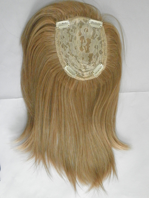 China Blonde Synthetic Hair Pieces Heat Resistant Lace Top Closure Piece supplier