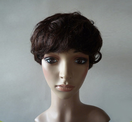 China Brown Natural Human Hair Wigs With Bangs , Short Curly Human Hair Wigs supplier