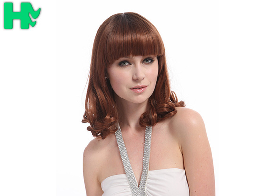 China Short Curly Synthetic Hair Wigs , 6A Synthetic Curly Wigs Darker Brown supplier