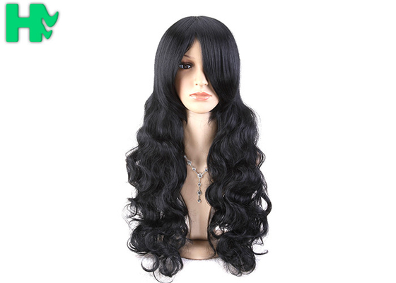 China Black Body Wave High Temperature Fiber Wig For Women Extra Long supplier