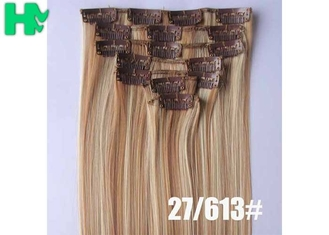 China Colored Clip In Synthetic Hair Extensions Fake Hair Wigs For White Women supplier