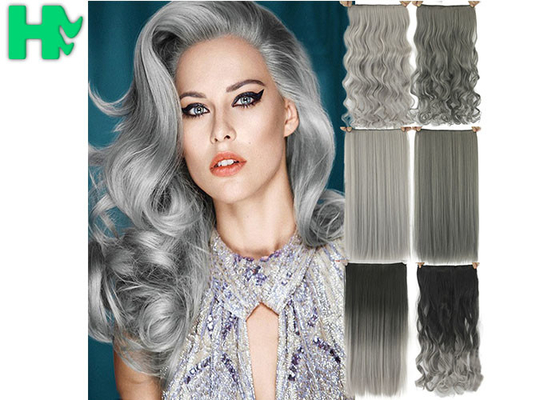 China High Light Synthetic Fibre Hair Extensions , Thick Ends Clip In Hair Extension Long Curly Weave supplier