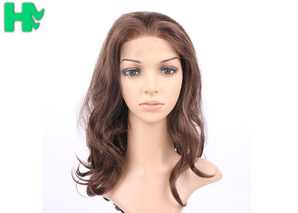 China Dark Brown Synthetic Front Lace Long Wigs Curly High Temperature Fiber Wig supplier