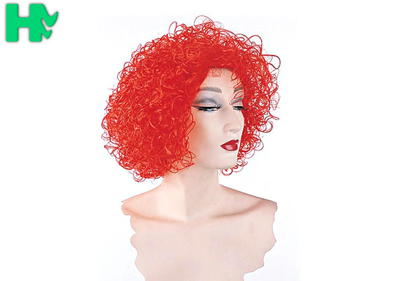 China Kinky Curly Red Color Clown Synthetic Cosplay Wigs Explosive Head Style For Football Fans supplier