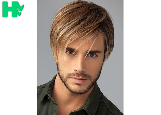China Fashion New Arrival  Mens Hair Pieces Wigs With Side Bang For Young Men Use supplier