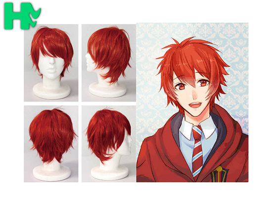 China Charming Wigs Synthetic Hair Short Wavy Red Synthetic Cosplay Wigs Costume Party Wigs Cap supplier