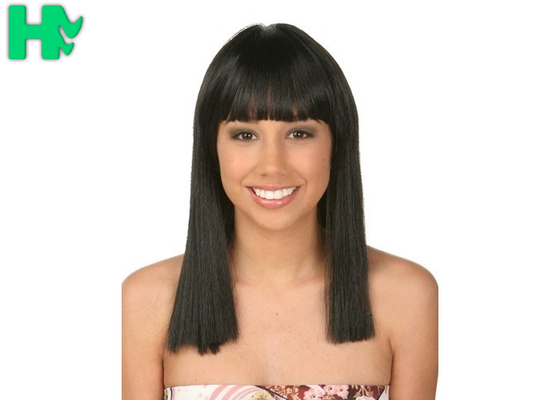 China Straight Full Head Synthetic Hair Wigs For Women with Natural Black Color supplier