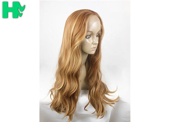 China Natural Wave 26 Inch Long Synthetic Wigs Tones Blonde Mixed Heat Resistant supplier