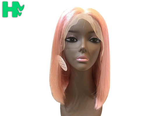 China Front Lace Natural Human Hair Wigs , Short Glueless Malaysian Bob Wig supplier