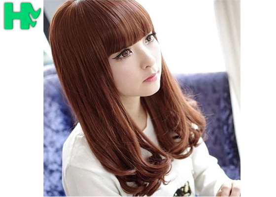 China 14 Inch Brown Wave C Parting Heat Resistant Synthetic Hair Wigs For Young 100% Density supplier