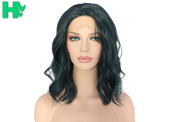 China Black Short Natural Wave Synthetic Cosplay Wigs For Lady Heat Resistant 150g - 250g supplier
