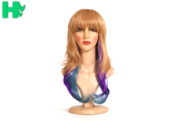 China Dip Dyed Three Tone Long Synthetic Wigs / Full Head Hair Wig For Wild Party 160 Gram supplier
