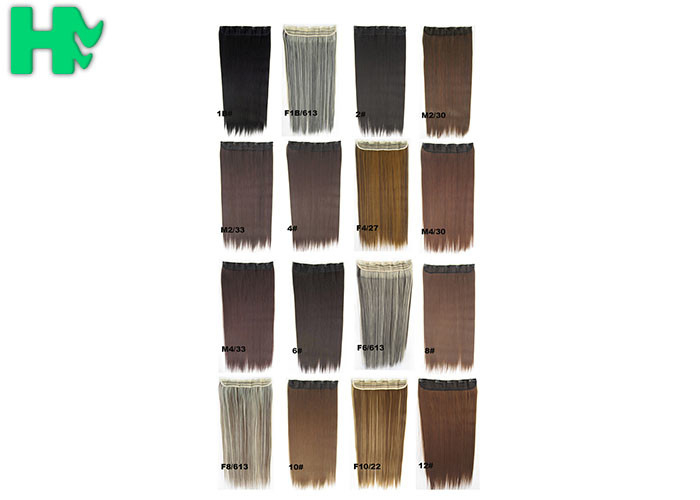 Double Weft Synthetic Clip In Hair Extensions Full Cuticle In Same