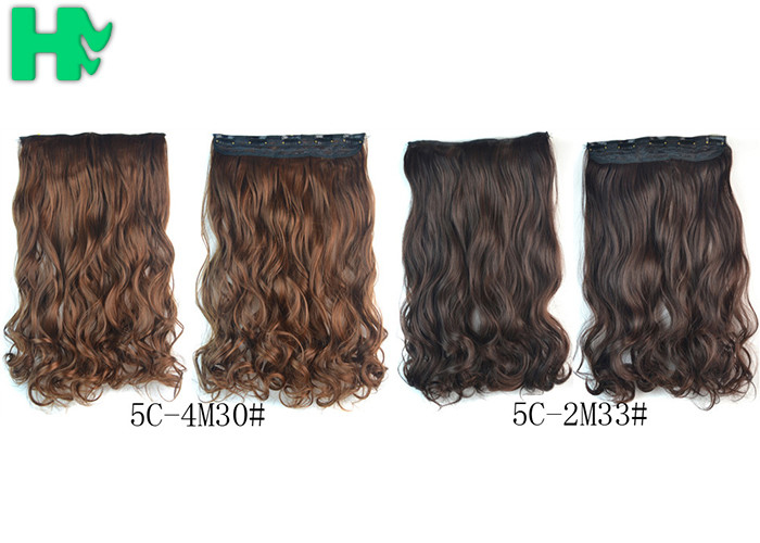 16 Inch Curling Synthetic Hair Extensions Clip In Tangle Free For Lady