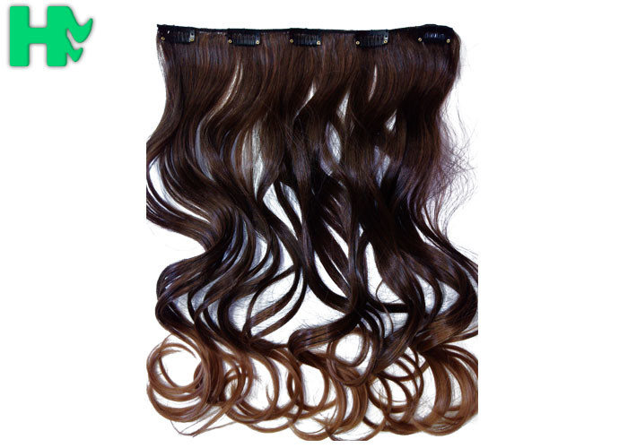 Silky Korea Clip In Synthetic Hair Extensions Heat Resistant Natural