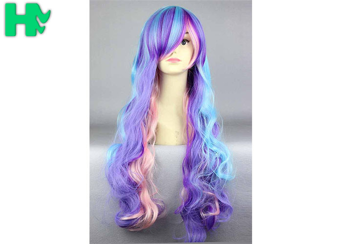 Colorful Curly Natural Looking Synthetic Wigs Women Non Flammable 624dd9ff6