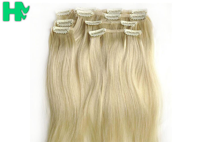 Bright Blonde Synthetic Human Hair Extensions No Chemical Processed