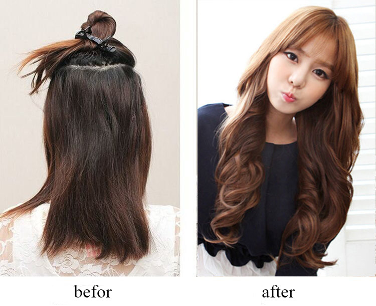 Popular Golden Synthetic Clip In Hair Extensions Long Curly Hair Weft