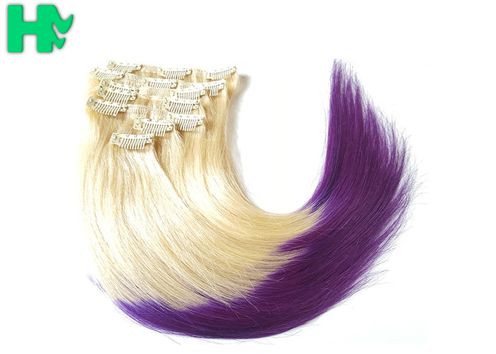 Fashion Womens Synthetic Clip In Hair Extensions Mixed Color Hair Wave