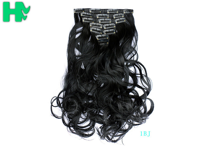 Black Curly Synthetic Clip In Hair Extensions Human Hair Wefts
