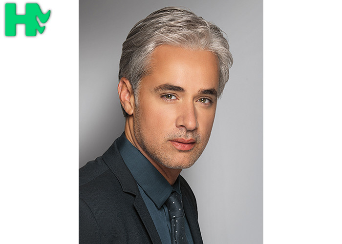 Modern Style Short Men Hair Wigs White Color Natural Looking Wigs