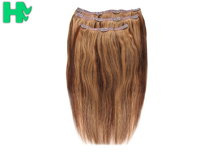 Straight Colorful Clip On Synthetic Hair Extensions High