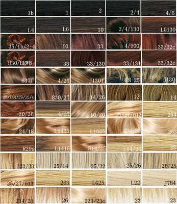 Synthetic Blonde Hair Color Chart / Hair Dye Color Chart Customer