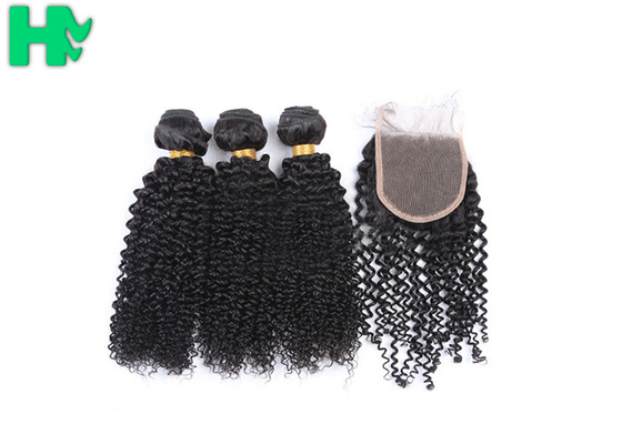 Peruvian Human Hair Kinky Curly Frontal Lace Closure With Bundles Double Weft