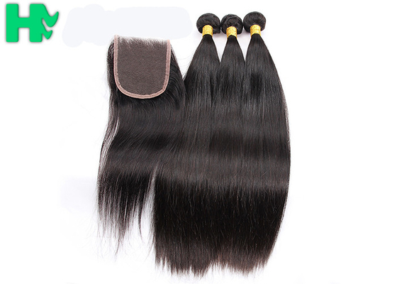 Grade 10A 100% Human Brazillian Hair Extensions Natural Color With 4x4 Closure