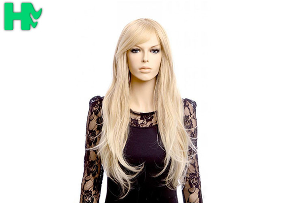 High Temperature Fiber Natural Long Straight Synthetic Wigs 120% Density
