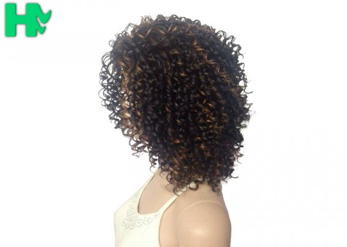 Kinky Curly Short Synthetic Wigs Natural Looking Brown Mixed Black