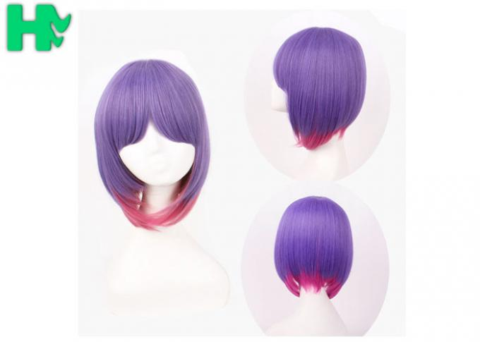 Party Purple Synthetic Cosplay Wigs With Ponytails Non Flammable