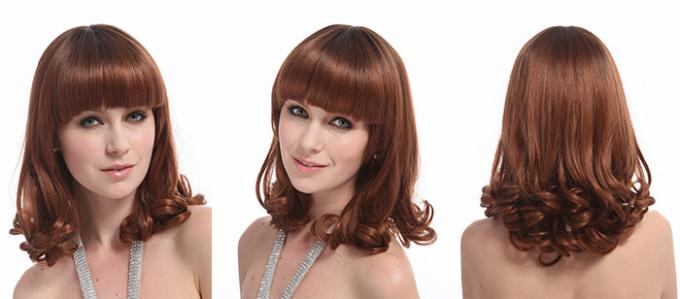 Short Curly Synthetic Hair Wigs , 6A Synthetic Curly Wigs Darker Brown