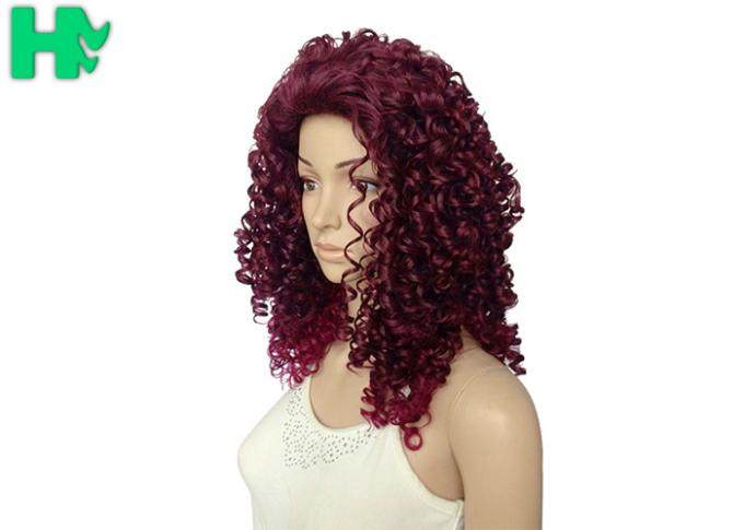 Kinky Curly Long Synthetic Wigs Natural Hair Line Mixed Color For Women