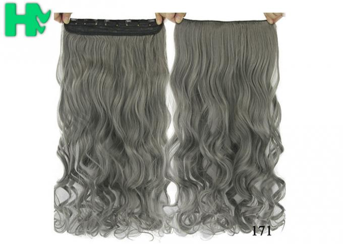 High Light Synthetic Fibre Hair Extensions , Thick Ends Clip In Hair Extension Long Curly Weave