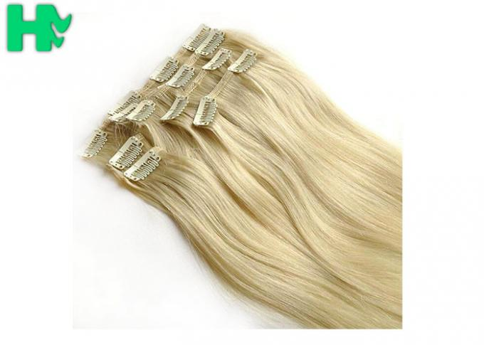 Bright Blonde Synthetic Human Hair Extensions No Chemical Processed Virgin Hair