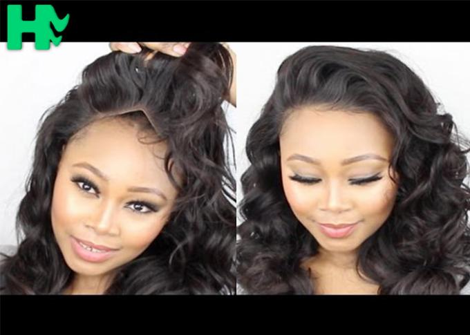 Womens Curly Hair Synthetic Front Lace Wigs Natural Black Color Wigs