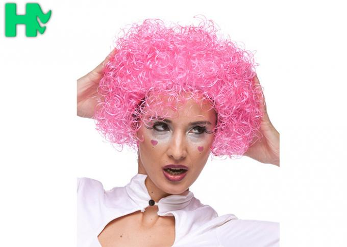Kinky Curly Red Color Clown Synthetic Cosplay Wigs Explosive Head Style For Football Fans