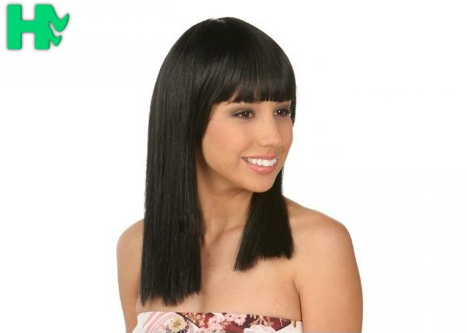 Straight Full Head Synthetic Hair Wigs For Women with Natural Black Color