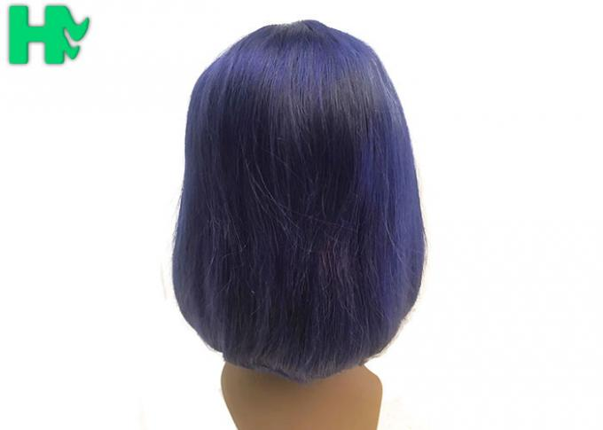Front Lace Natural Human Hair Wigs , Short Glueless Malaysian Bob Wig