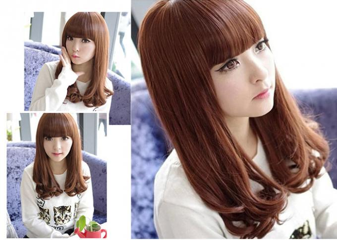14 Inch Brown Wave C Parting Heat Resistant Synthetic Hair Wigs For Young 100% Density