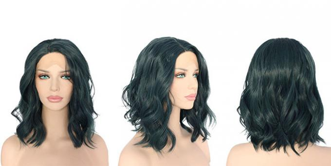 Black Short Natural Wave Synthetic Cosplay Wigs For Lady Heat Resistant 150g - 250g