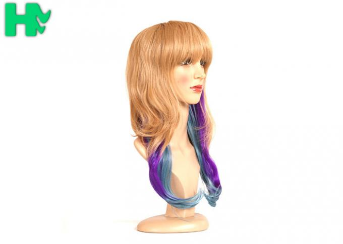 Dip Dyed Three Tone Long Synthetic Wigs / Full Head Hair Wig For Wild Party 160 Gram